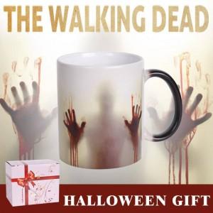 Lekoch The Walking Dead Tazza in ceramica cambia colore Tazza da caffè Sensibile al calore Mani insanguinate Disegna tazze da tè per il regalo di Halloween