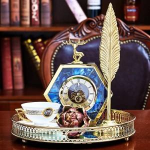 Ornamenti per orologi da comodino per la casa, armadio da vino per la casa, modello europeo in agata blu, lato agata blu di lusso