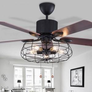 Lampadario a soffietto a soppalco retrò sala da pranzo elettroventola domestica muto lampada a LED a ventaglio remoto a foglia