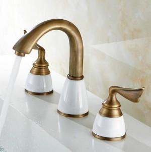 Set 3 pezzi di lusso Rubinetto Miscelatore per bagno Lavabo a piano Rubinetto per lavabo Set rubinetto per WC finitura dorata Miscelatore rubinetto 8209