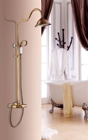 Set doccia di lusso termostatico antico set doccia rubinetto doccia calda e fredda Anqtique rubinetto doccia vasca termostatico doccia miscelatore XT403