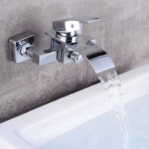 Bagno di lusso Grande cascata Vasca Miscelatore in ottone cromato Bocca in vetro nel rubinetto a parete