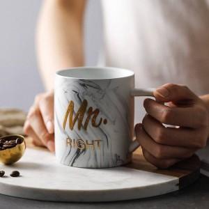 Marmo di lusso Bronzing Word Tazze in ceramica Placcatura in oro MRS MR Coppia Lover's Gift Tazza del mattino Caffè al latte Colazione Tazza creativa