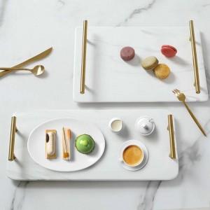 Vassoio di ceramica rettangolare marmorizzato di lusso Vassoio per tè domestico Vassoio per lavaggio Manico classico in marmo dorato