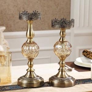Candeliere in metallo di lusso Decorazione per la casa Tavolo Modello Stanza Decorazioni morbide Ornamenti Cena a lume di candela oggetti di scena europei