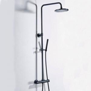 Set doccia termostatico per bagno di lusso nero rubinetto doccia con acqua calda e fredda vasca miscelatore termostatico doccia miscelatore XT406