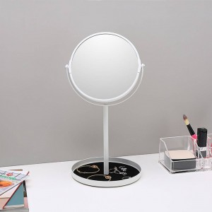 Specchio per trucco da tavolo semplice specchio double face ingrandisci 6,5 pollici specchio specchiera con base contenitore per gioielli wx8161502