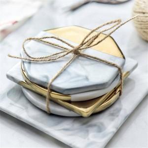 Sottobicchieri in ceramica in marmo stile nordico Sottobicchieri bordati in oro impediscono la decorazione del tavolo con tappetino per tazza scivoloso