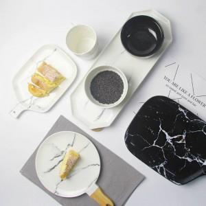 Piatti di grano di marmo Piatto grigio in ceramica Piatto in marmo bianco nero Piatto da tavola in ceramica Piatto in porcellana