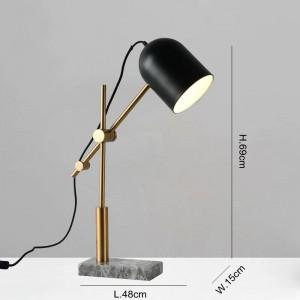 Lampade da tavolo in marmo moderne per soggiorno camera da letto studio sala illuminazione illuminazione tavolo lampada da lettura paralume in metallo nero