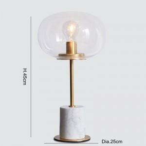 Lampade da tavolo in marmo Lampada moderna in metallo dorato corpo scrivania luce soggiorno camera da letto ferro arte paralume in vetro chiaro luce di lettura a casa