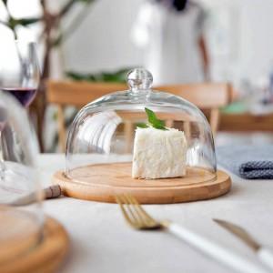 MDZF SWEETHOME Vassoio per torta con coperchio in vetro Piatto per snack Vassoio per frutta Piatto da dessert Piatto Dim Sum