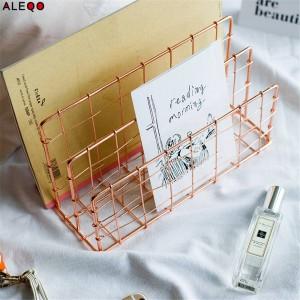 Cestino portaoggetti in metallo oro rosa Vogue Chic moderno nordico Graceful Net Scrivania in ferro Rivista per libri Organizer