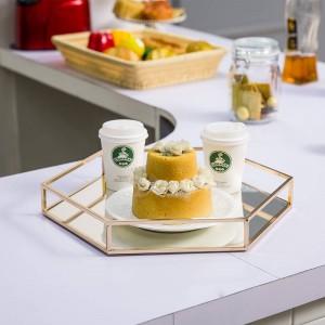 Vassoio esagonale a specchio Modern Minimalist Room Room Decorazione domestica in metallo Tazza da caffè Vassoio per frutta e dessert