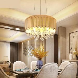 moderna illuminazione a lampadario Sala da pranzo Lampada a sospensione Art Déco di lusso Lampada in cristallo lustro Famiglia Progetto creativo luce a led