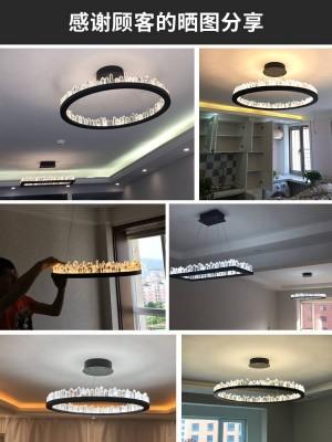 Lampade a sospensione moderne in cristallo per soggiorno Bar Led anello cucina rotonda striscia LED Lampada da pranzo illuminazione Lustre Cristal