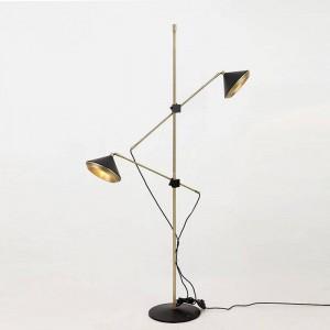 Lampada da terra moderna a 2 bracci Lampada da terra orientabile bianca nera regolabile Camera da letto luminosa Soggiorno Elegante luce alla moda