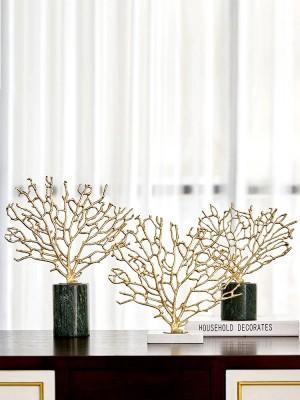 Accessori per la casa moderni Ornamenti in corallo oro rame Camera modello Soggiorno Decorazioni artigianato in marmo