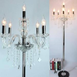 Lampada da terra moderna a led a candela per soggiorno matrimonio Candeliere in cristallo cromato Lambader Party lampada da terra 110-240 V E12 / E14 LED