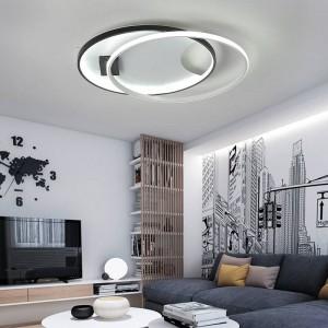 Plafoniere moderne a LED per soggiorno camera da letto AC85-265V colore bianco / nero Lampada da soffitto per illuminazione interna con telecomando