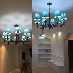 Lampadari moderni a LED Lampadari Lampada Sala da pranzo nordica Lampada Camera per bambini Iron Art Blue Style Lampadari mediterranei E27