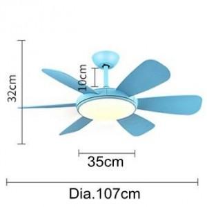 Moderna lampada a sospensione a LED Plafoniera camera da letto a ventaglio foglia bianca blu con ventola Inoltra vento inverso Lampada a due modalità