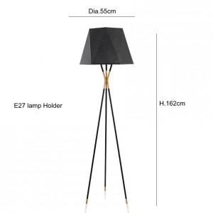 Lampada da terra moderna minimalista Lampade da terra nere per soggiorno Illuminazione da lettura Lampada da terra a triangolo in ferro