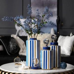 Vaso di stoccaggio decorativo a strisce moderno modello Villa decorazione morbida