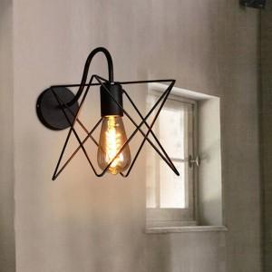 Lampade da parete moderne in ferro Loft vintage lampada a triangolo in metallo nero gabbia a parete in stile country Applique corridoio corridoio lampada