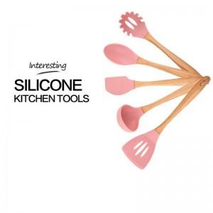 Utensili per la tavola multifunzionale Cucina Telaio in legno Utensili da cucina in silicone Utensili da cucina Set da 6 pezzi Bella moda