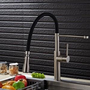 Rubinetto da cucina in nichel spazzolato 100% in ottone massiccio Miscelatore monocomando per lavello rubinetto da 360 gradi Rubinetto da cucina nero girevole LAD-68