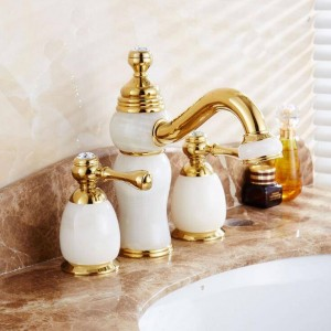 Fahshion Rubinetto europeo per lavabo in giada retro rubinetto dell'acqua calda e fredda a tre fori lavandino del bagno doppio rubinetto XR8215