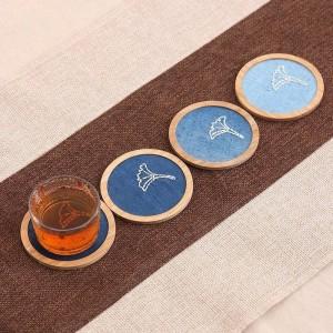 Pallet di bambù naturale Set di sottobicchieri di caffè per tè Kungfu Tazza quadrata rotonda Tappetino Pad Tavolo Isolamento Antiscivolo Porta Copos Pastorale