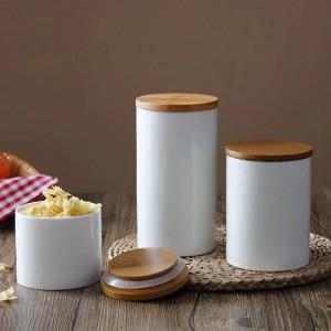 Vaso portabottiglie con coperchio in ceramica di design naturale con coperchio in bambù per alimenti da cucina Tè Caffè in grani e spezie