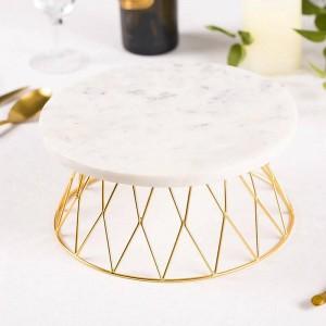 Ornamento naturale della decorazione del tavolo da pranzo del tavolo da taglio del vassoio del dolce di marmo