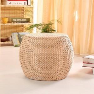 Cuscino fatto a mano in paglia naturale Soggiorno Rotondo Tatami Legno Cambio Scarpe Sgabello Tavolino Panca in legno