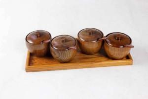 Contenitore per spezie in legno naturale Contenitore per spezie Contenitore per cucina Contenitore per condimenti creativo Con cucchiaio