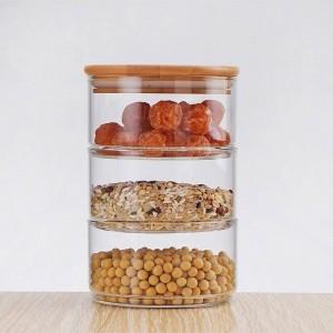 Nuovo 1200ml 3 strati Mason Borosilica Vaso di vetro Cucina Cibo Contenitore sfuso Set per spezie Contenitore per frutta secca Scatola per insalatiera