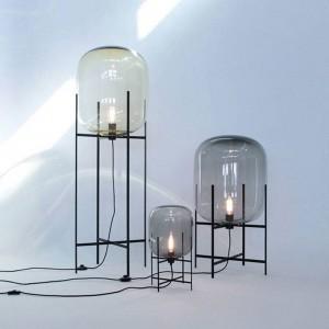 Creativo semplice lampada da tavolo paralume in vetro scrivania luce corpo nero nuovo design negozio decorazione della casa comodino