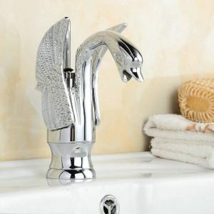 NUOVO lavandino del bagno Swan Style Cromo lucido Miscelatore rubinetto miscelatore B-002