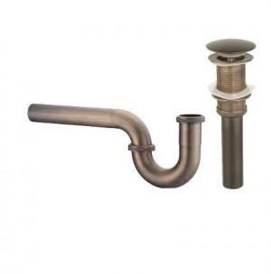 Nuovo sifone rotondo in ottone Sifone tondo antico / nero P-TRAP kit bagno vanità lavabo scarico con scarico pop-up 9231K