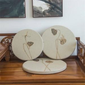 Nuovo tessuto spugna di lino Cuscino creativo foglia di loto Cuscino tondo Finestrino Cuscino in legno massello Divano Cuscini decorativi