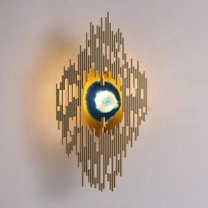 Nuova lampada da parete classica in agata Lampada da parete a LED in metallo placcato oro chiaro montata a parete foyer casa G9 applique da parete