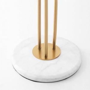 Nuove classiche lampade da terra Creative 3 teste Lampada da terra in metallo placcato oro lucido Villa in hotel Deco di lusso LED Lampada da terra Marmo
