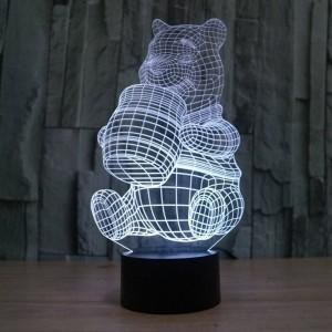 Nuova lampada illusione 3D creativa, acrilico 7 colori che cambiano forma Winnie the Pooh LED luci notturne usb novità illuminazione lampade da tavolo