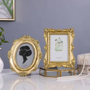New French Light Luxury Golden Intagliato Vintage Photo Frame Cornice Cornice Cornice morbida decorazione ornamento Bellezza