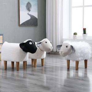 Nuovo sgabello basso per uso domestico Panca in legno di cartone animato animali piccola Sedia per bambini / bambini Soggiorno Tavolo da tè Divano in pelle