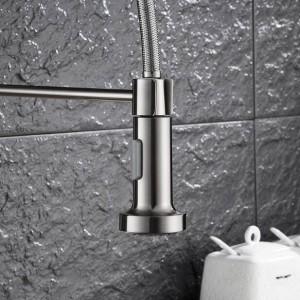 Nuovo rubinetto della cucina Rubinetto del nichel spazzolato Estrarre Torneira All Around Ruotare girevole Rubinetto miscelatore uscita acqua 2 funzioni LAD-70