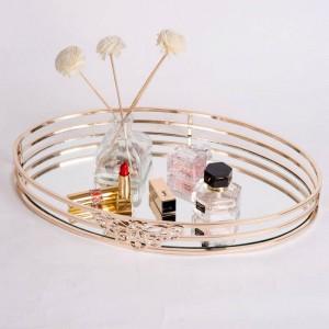 Nuovo vassoio specchio in metallo Ovale modello europeo Camera Tavolino Vassoio Bagno Cosmetici Portaoggetti Decorazione