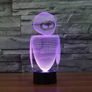 Nuovo robot colorato 3D luce notturna a led 7 colori che cambiano automaticamente lampada 3D Illusion lampada da comodino per bambini / camerette per dormire